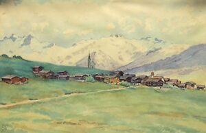 Andre-Engel-1880-1942-Landschaft-Mit-Alpen-Berg-Perkinsen-Camp-De-Thol-Ain