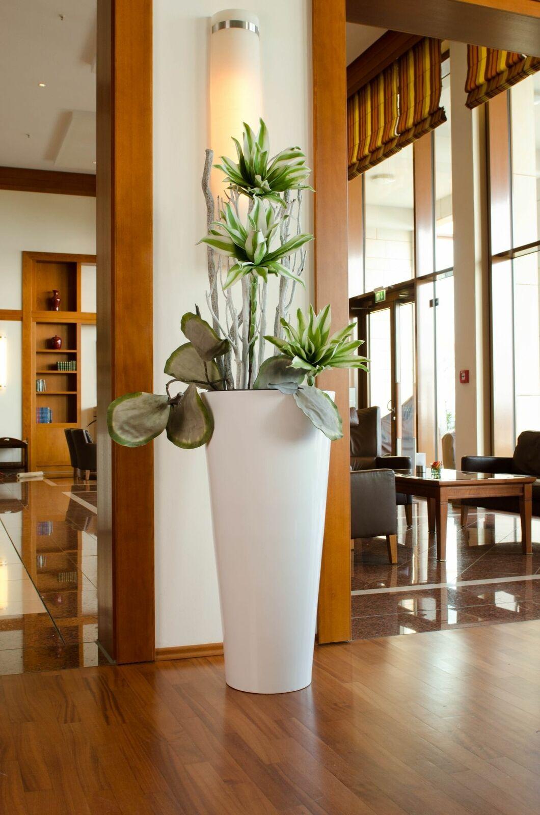 Pflanzkübel aus Fiberglas  Rondo Classico , 100 cm, Weiß Hochglanz