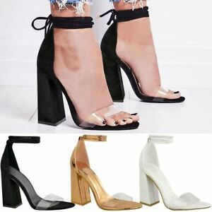 b36b6f1c85c New Womens Perspex Clear Block Heel Strappy Sandals Ankle Lace Tie ...