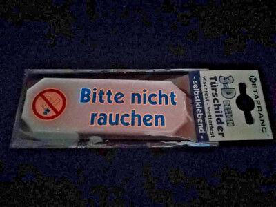 """3D Hinweisschild Klebeschild /"""" Bitte nicht rauchen /"""" Kunststoff 10,7 x 4 cm"""