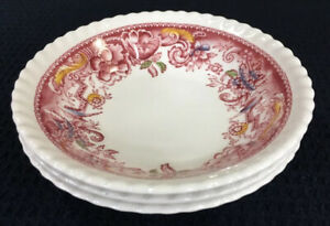 Johnson-Brothers-Devonshire-Red-Multicolor-Set-Of-3-Berry-Bowls-Flaws-England