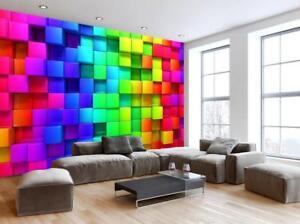 Image is loading Photo-Wallpaper-Woven-Self-Adhesive-Wall-Mural-Art- & Photo Wallpaper Woven Self-Adhesive Wall Mural Art Colorful Blocks ...