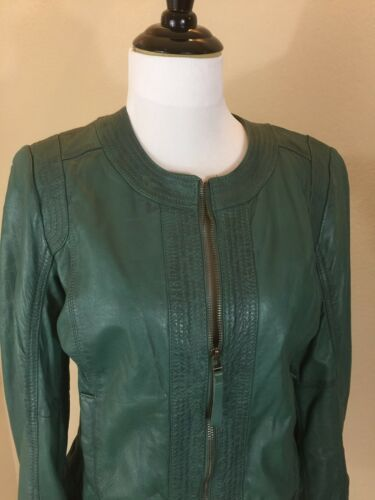 Leather Nwot Eu Promod 40 Kvinders With Green us Jacket Brand Medium Zip qpg1FUwp
