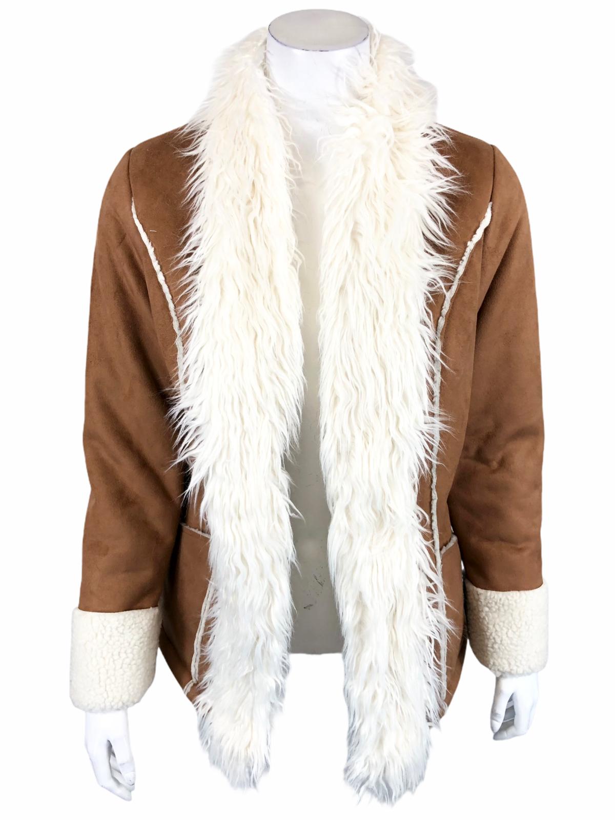 Rachel Hollis Ltd. Faux Suede Jacket with Shearling Trim Camel XXX-Small Size
