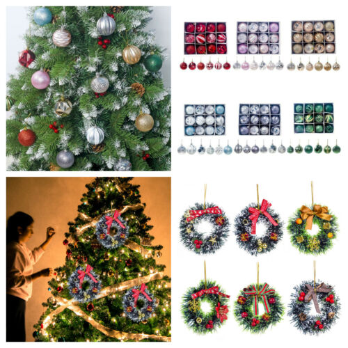 Christmas Tree Hanging Ball Rattan Wreath Ornaments Party Home Festival Decor