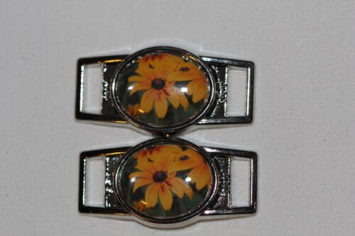 2 shoes//paracord Yellow Daisy  Sunflower Oval shoelace charm pair