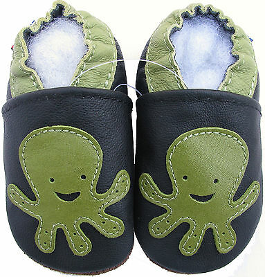 carozoo octopus black 12-18m soft sole leather baby shoes