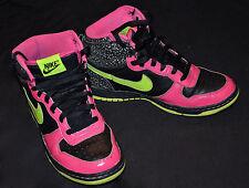 2009 Size 7 NIKE High Tops BIG DUNK Swoosh Black* Hot Sparkle Pink* Neon Green
