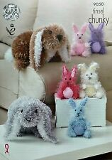 KNITTING PATTERN Tinsel Rabbits Knitted Toys 2 sizes Chunky King Cole 9050