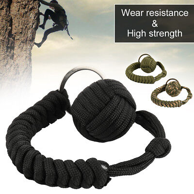 Monkey Fist Paracord Keychain Keyring MilitarySteel Ball Survival Outdoor Chic