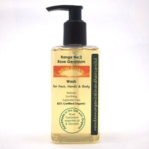 ROSE-GERANIUM-FACE-HAND-amp-BODY-WASH-New-Dawn-Organic-Vegan-Skin-Care-Products