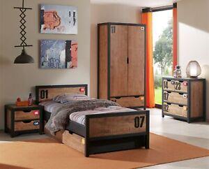 Details Zu Jugendzimmer Komplett Set Mit Bett Kleiderschrank Nachttisch Und Kommode Kiefer