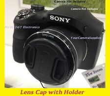 FRONT SNAP-ON LENS CAP DIRECTLY TO CAMERA SONY CYBERSHOT DSC-H1 H2 H5 +HOLDER