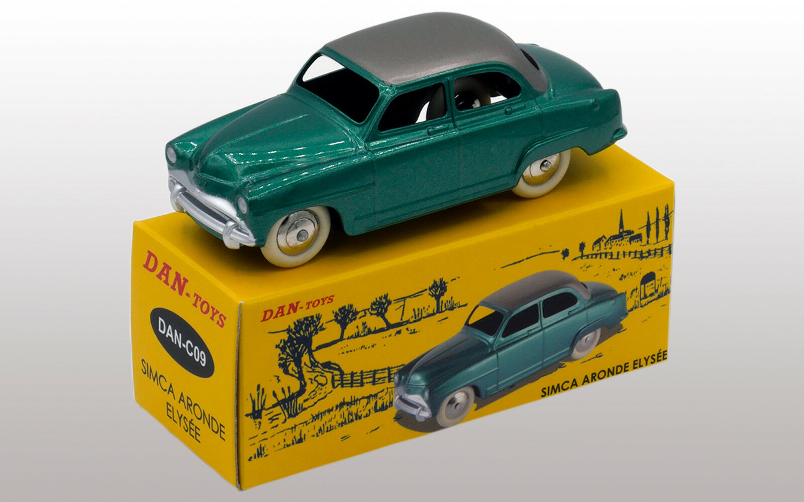 DAN TOYS  Simca Aronde Elysée Vert Métal   Toit Argent (Série de 500 Exemplaires