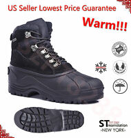Kingshow Men's Black Winter Snow Boots Shoes Leather Waterproof + Free Sock1280B