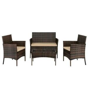 4PC-Outdoor-Patio-Lawn-Sofa-Set-Rattan-Wicker-Furniture-Table-Cushion-Brown