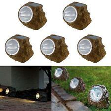 5 x Solar Powered Garden Rock Light Walkway/Path/Landscape Patio Stone Spotlight
