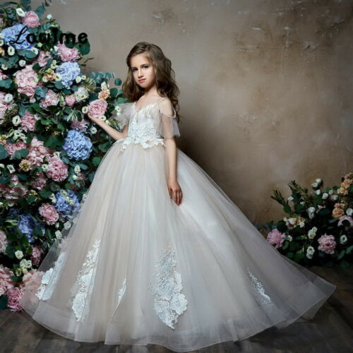 Lace Dance Flower Girl Kids Party Prom Ball Gowns Wedding Formal Pageant Dress