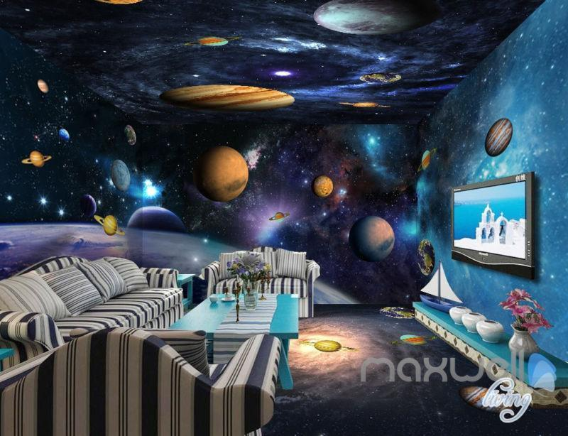 3D Universe Galaxy Planets Sky Entire Living Room Wallpaper Wall Mural Art Decor