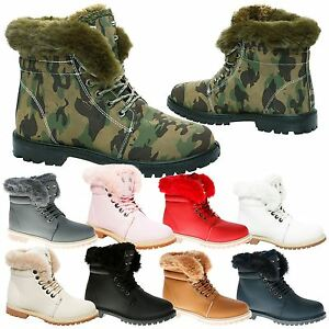 brand quality running shoes choose newest Details about Estelle Womens Flat Low Heel Fur Trim Lined Fluffy Ankle  Boots Ladies Shoes Size