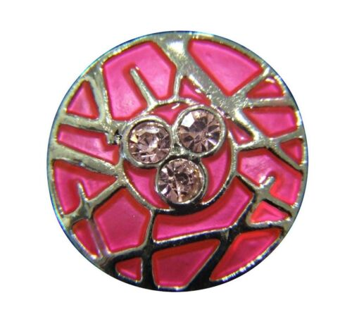 Noosa Style Chunk Chunks Ginger Snap Button Jewellery Charms Pink Enamel 20mm