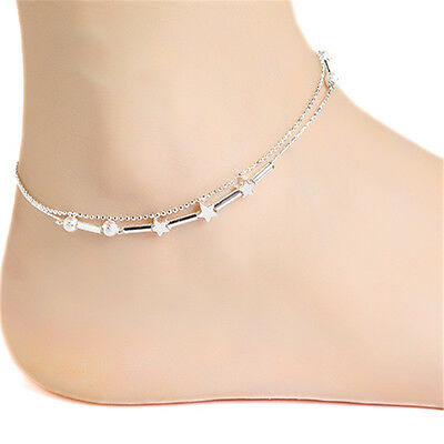 Fashion Women Silver Pentagram Bead Crystal Anklet Double Chain Ankle Bracelet