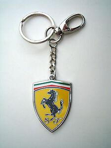 Genuine Ferrari Ceramic Shield Keychain / Key Chain Polished Metal