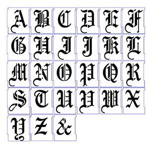Calligraphie Lettre alphabet stencil airbrush stencils letter templates 25mm old english