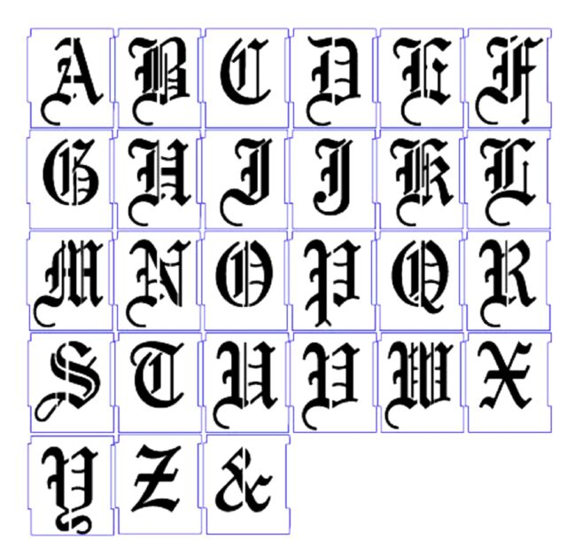 Alphabet Stencil Airbrush Stencils Letter Templates 25mm Old English