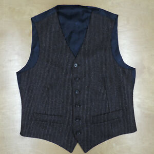 ISAIA-Made-Brown-w-Chalkstripe-Wool-Flannel-Waistcoat-Vest-38R-48eu-Italy-Made