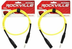 2-Rockville-RCXMB3-Y-Yellow-3-039-Male-REAN-XLR-to-1-4-039-039-TRS-Balanced-Cables