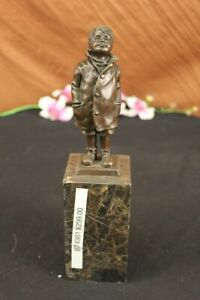Vintage-Reproduction-Bronze-034-Boy-in-Rain-034-Sculpture-Wax-Casting-Artwork-Statue