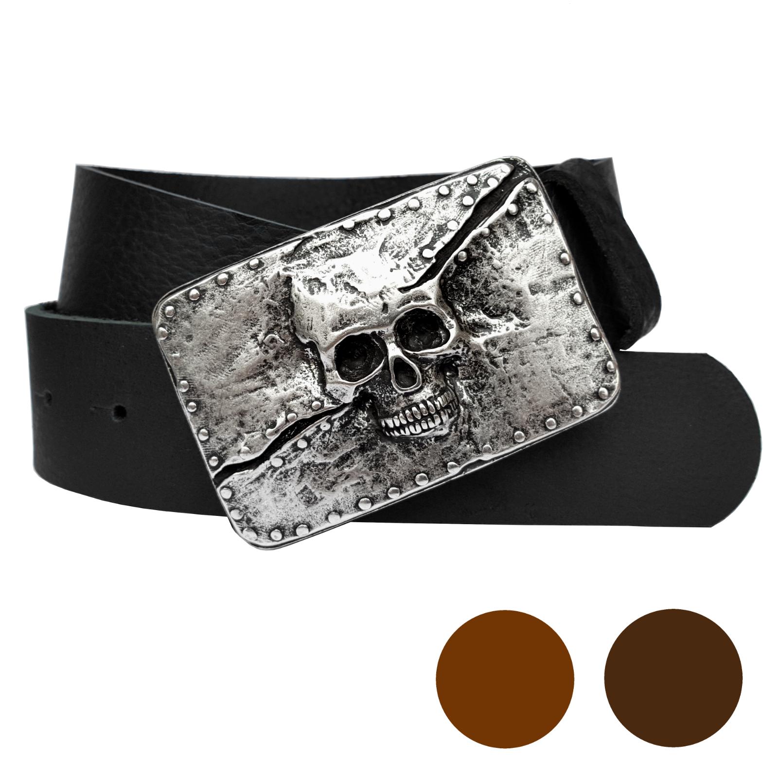 Ledergürtel Totenkopf schwarz 4cm Skull buckle braun Biker Rockstar Jeansgürtel