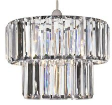 BNIB Art deco Vintage Style 2 Tier Clear Prism Jewel Pendant Ceiling Shade NEW