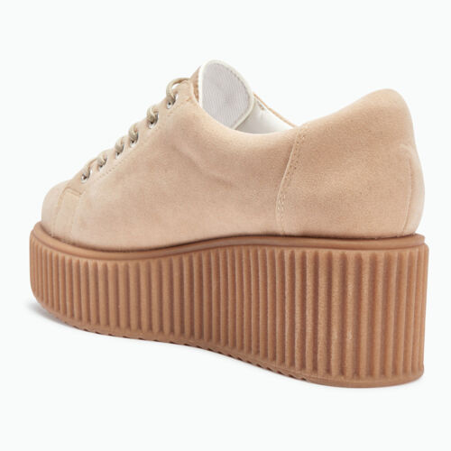 Truffle Dino01 Nude Creepers Lace Up Flatforms Ladies Shoes