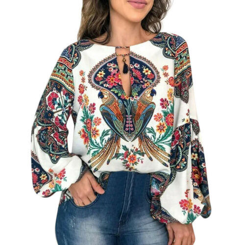 Women Ladies Casual V-Neck Long Latern Sleeve Printed Loose Pullover Tops Blouse