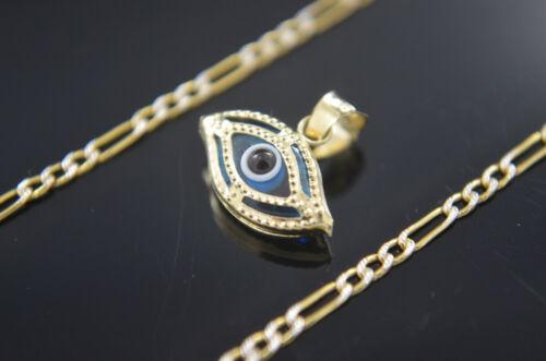 Evil Eye Charm 14k Gold Chain All Seeing Eye Pendant Medalla Mal de Ojo Oro Real