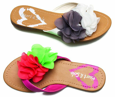 New Junior Girls Chatterbox Summer Beach Flat Ruffled Flower Sandals Party Shoes