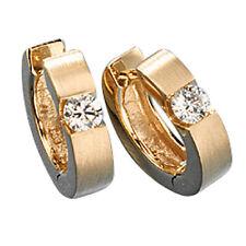 NEU Damen Herren Diamanten Creolen Ohrringe 14 Karat Gelbgold matt 585 0,30 ct