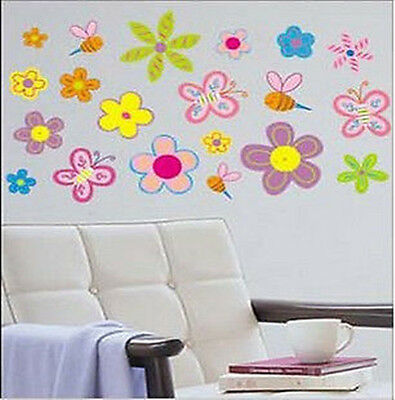 Large Colourful Flowers Butterfly & Bee Wall Stickers