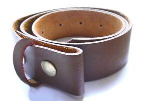 Lanière Ceinture 100% cuir Marron nue à pressions boucle Biker ... c9d2a2af6ce