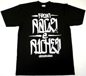 STREETWISE-RAGS-2-RICHES-T-shirt-Urban-Streetwear-Tee-Men-Black-NWT