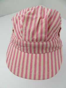 Pink & White Striped Snapback Youth Girls Cap Hat