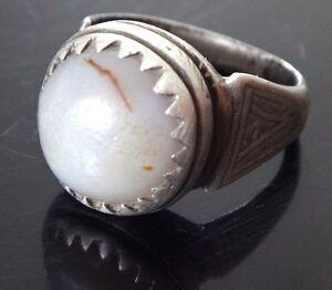 Bague-ethnique-argent-pierre-agathe-Old-oriental-silver-ring-stone-agate-XIX