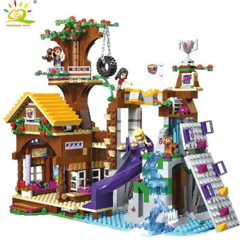 875pcs Friends Adventure Camp Tree House Building Blocks City Girl Figures Brick