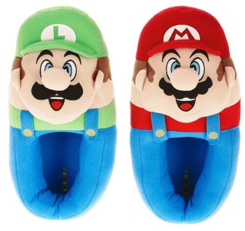 12,13//1, Super Mario Bros Luigi Peluche Musical Pantoufles Nwt Garçons Sz 11