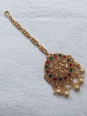 Golden Pearl Diamante Head Chain Matha Patti Tika Tikka Indian Bollywood
