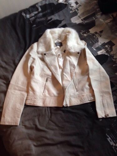 Lederlook 16 Fur Cream Faux New Collar Bikerjack Vk Pu Boho 14 South XwOSxqnF