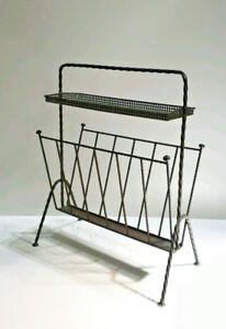 Mid-century-black-60-039-s-Magazine-newspaper-rack-holder-attr-mategot-perforated
