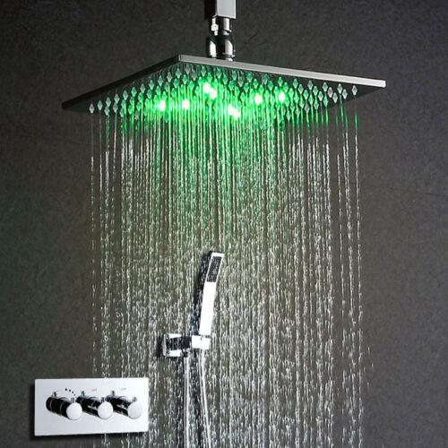 "10/""LED Messing Thermostatische Duschregler Duschset Komplettsysteme Duscharmatur"